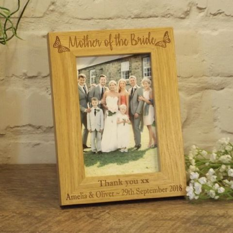 Personalised Mother of the Bride Groom Wooden Photo Frame, Butterfly Design